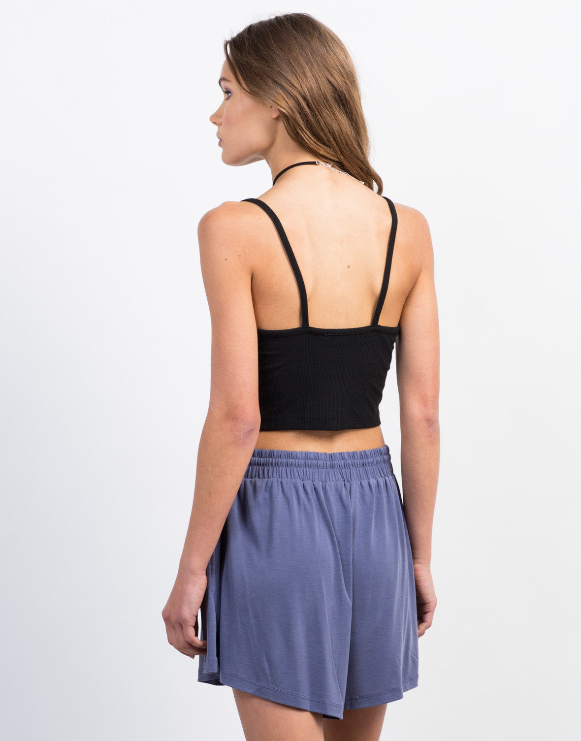 Back View of Little Ribbed Lace-Up Tank