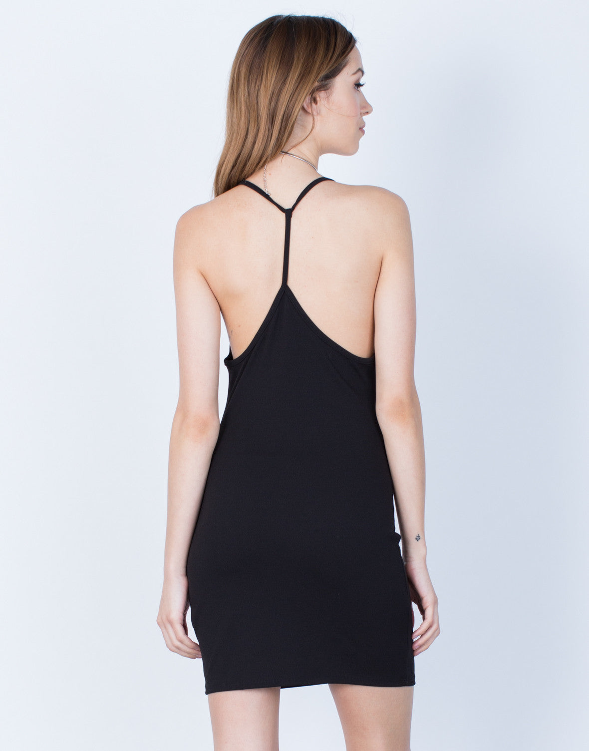 Back View of Little Strappy Party Dress