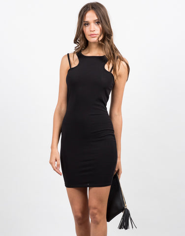 Front View of Little Black Bodycon Dress