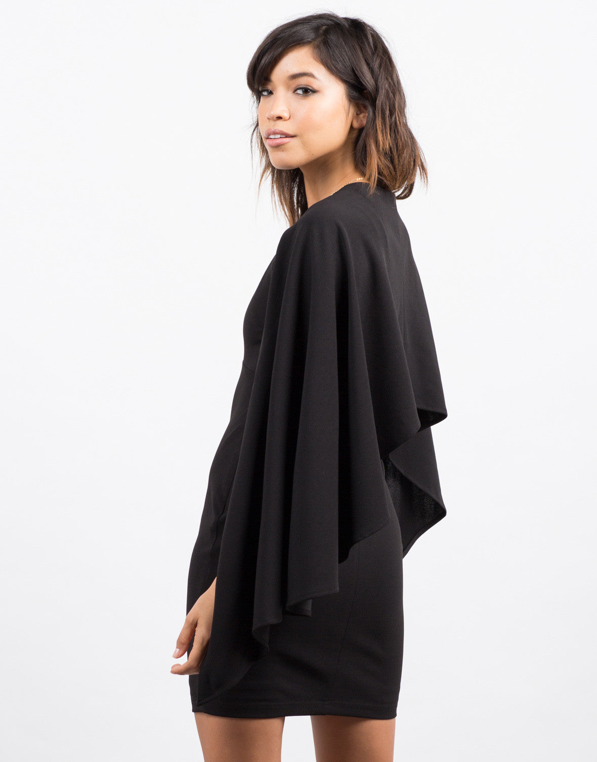 Back View of Little Black Cape Dress