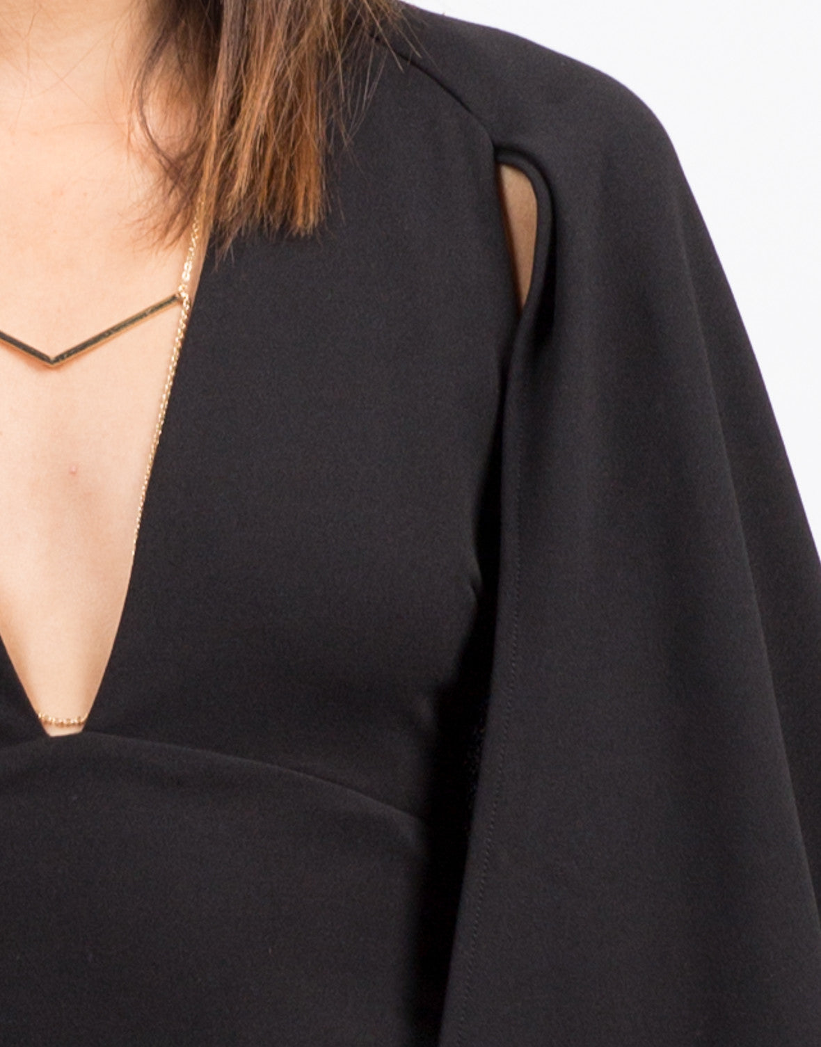 Detail of Little Black Cape Dress