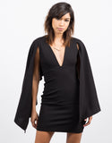 Front View of Little Black Cape Dress