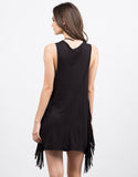 Back View of Little Black Fringe Dress