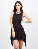 Front View of Little Black Fringe Dress