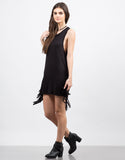 Side View of Little Black Fringe Dress