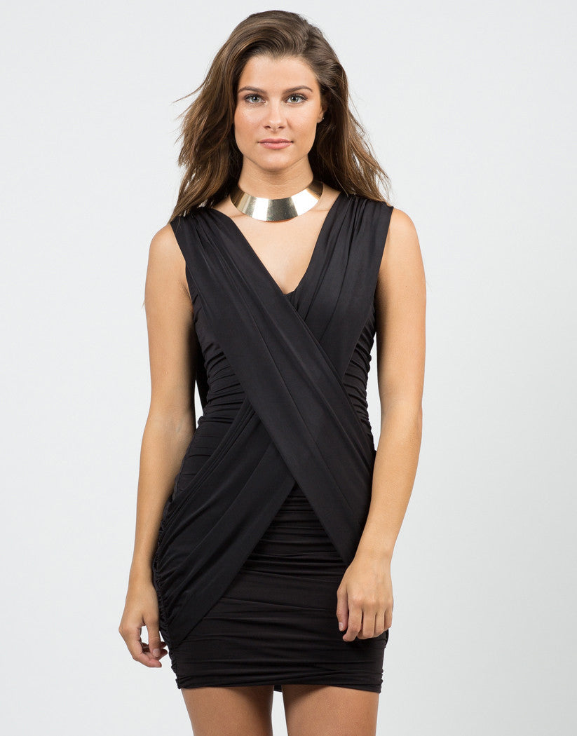 Front View of Little Scrunched Black Dress