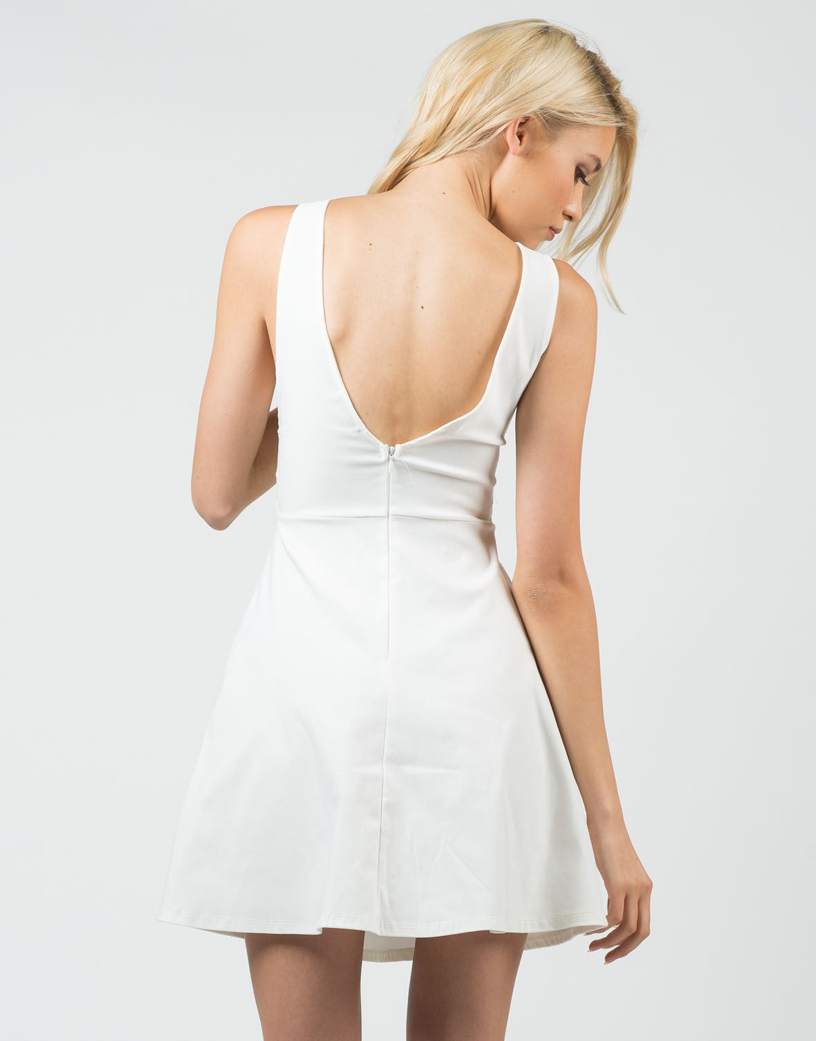 Back View of Little White Flared Dress