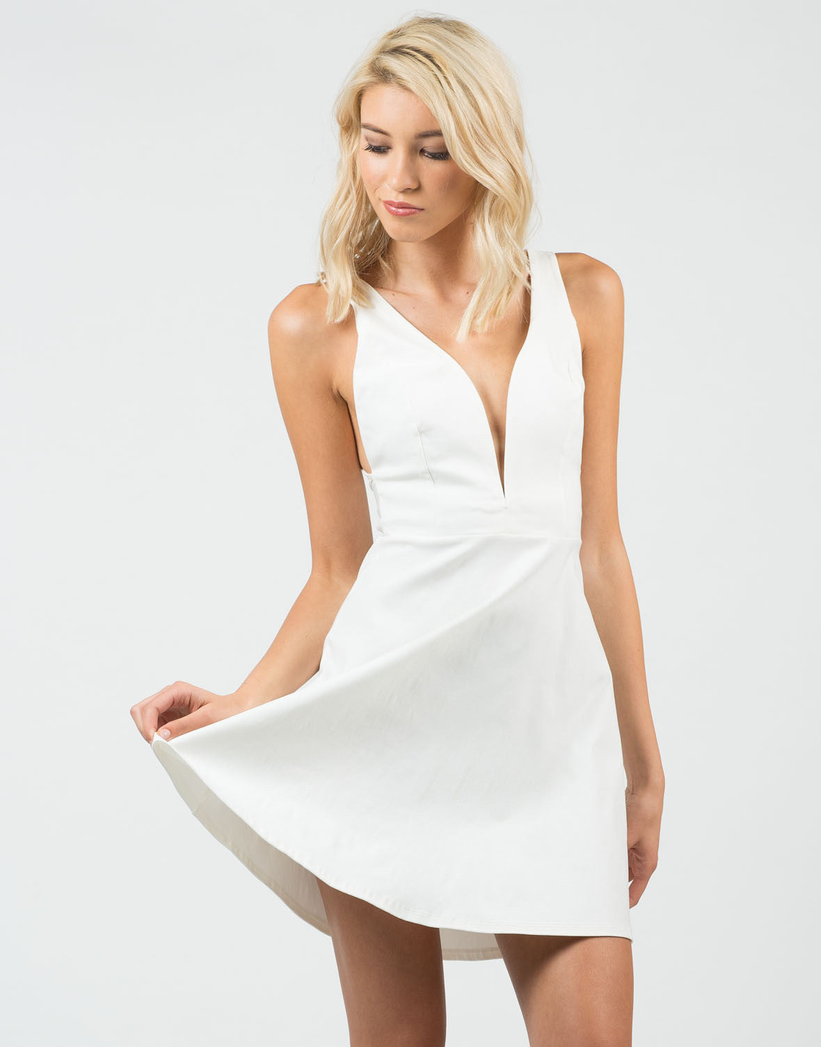 Front View of Little White Flared Dress