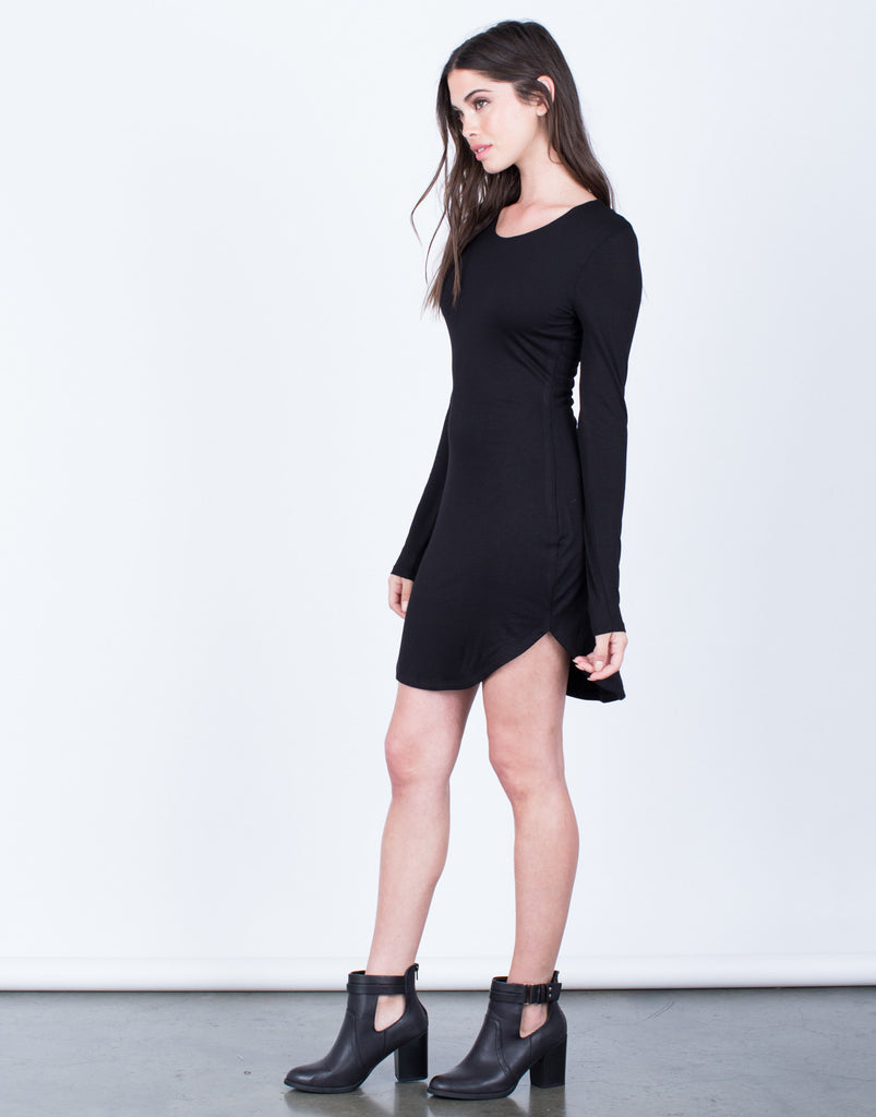Side View of Long Sleeve Bodycon Dress