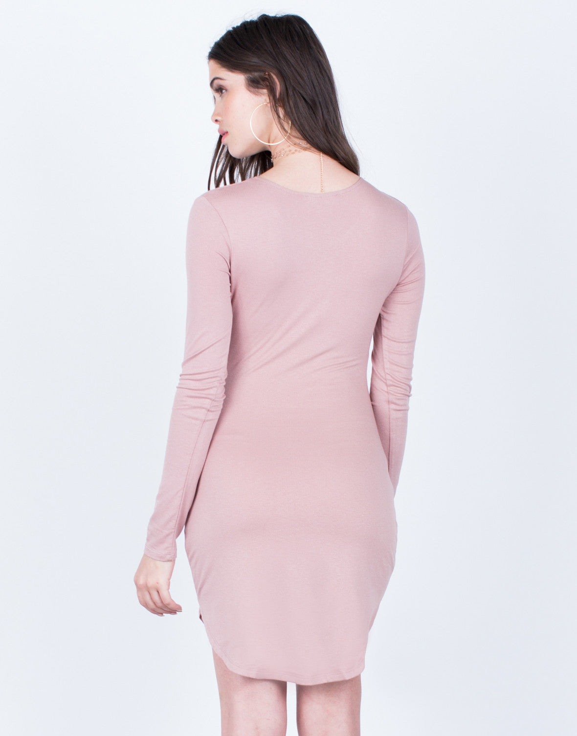 Back View of Long Sleeve Bodycon Dress