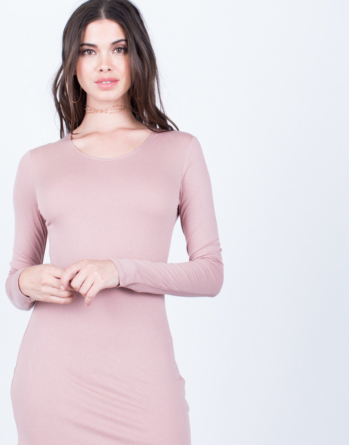 Detail of Long Sleeve Bodycon Dress