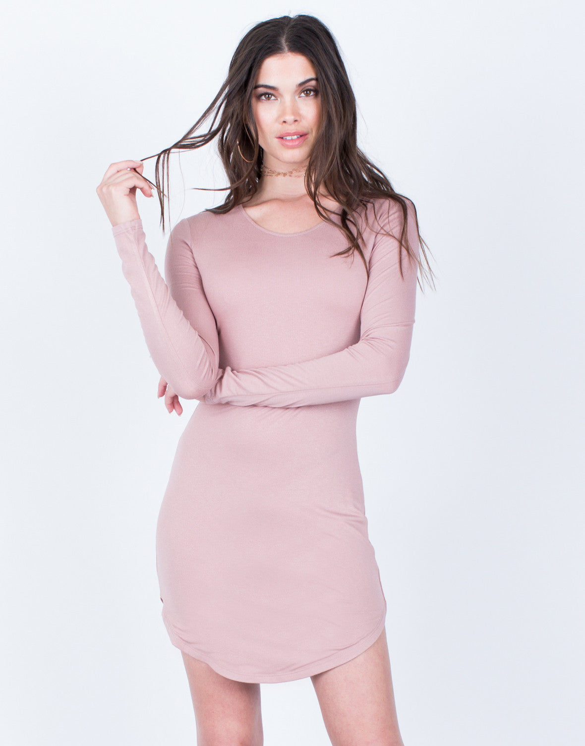Front View of Long Sleeve Bodycon Dress
