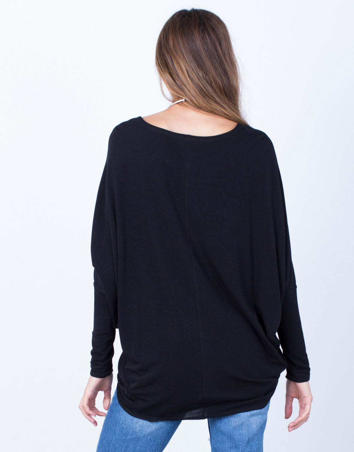 Back View of Long Sleeve Dolman Basic Soft Top