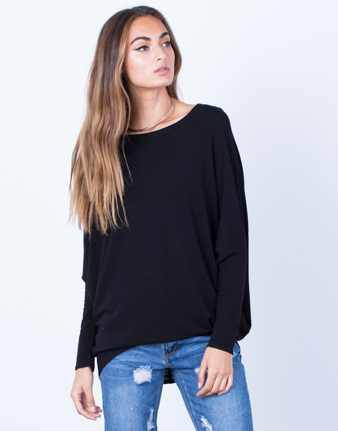 Front View of Long Sleeve Dolman Basic Soft Top