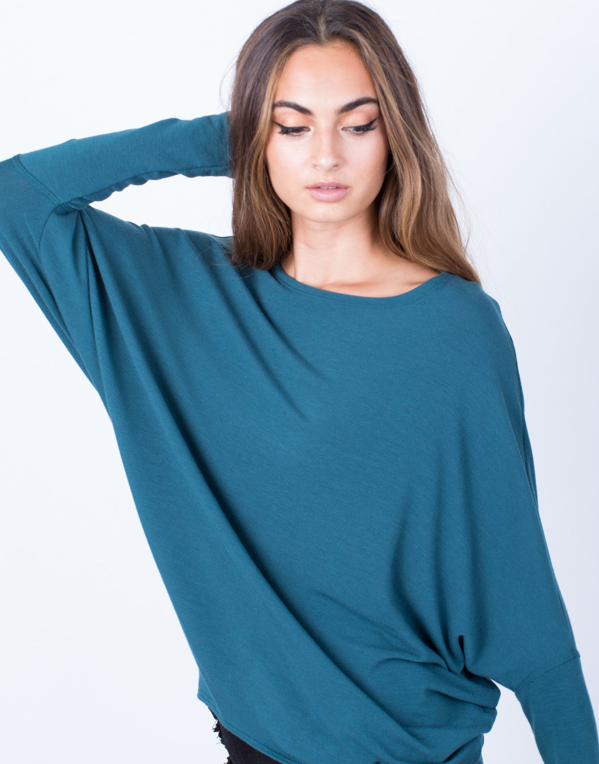 Detail of Long Sleeve Dolman Basic Soft Top