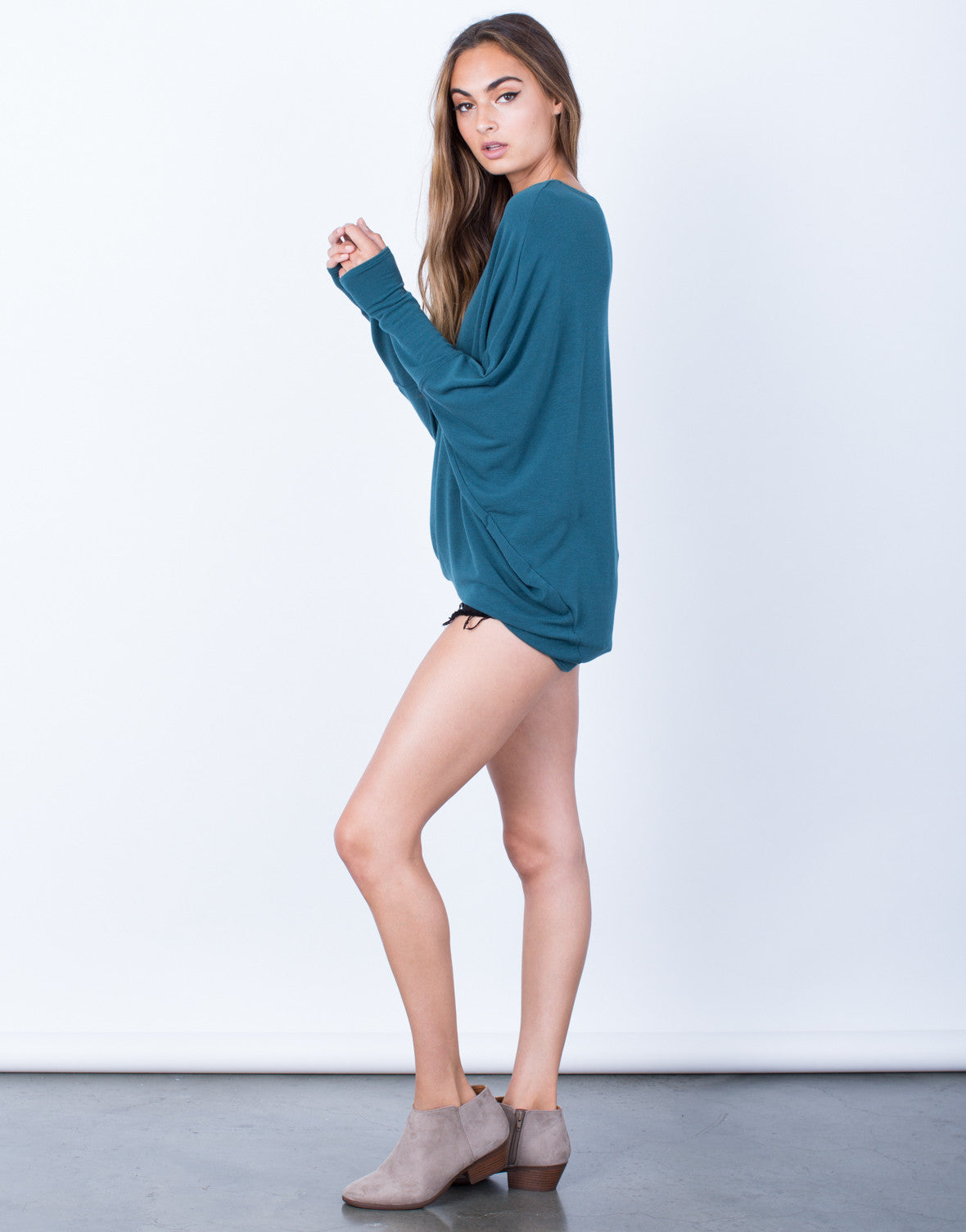 Side View of Long Sleeve Dolman Basic Soft Top