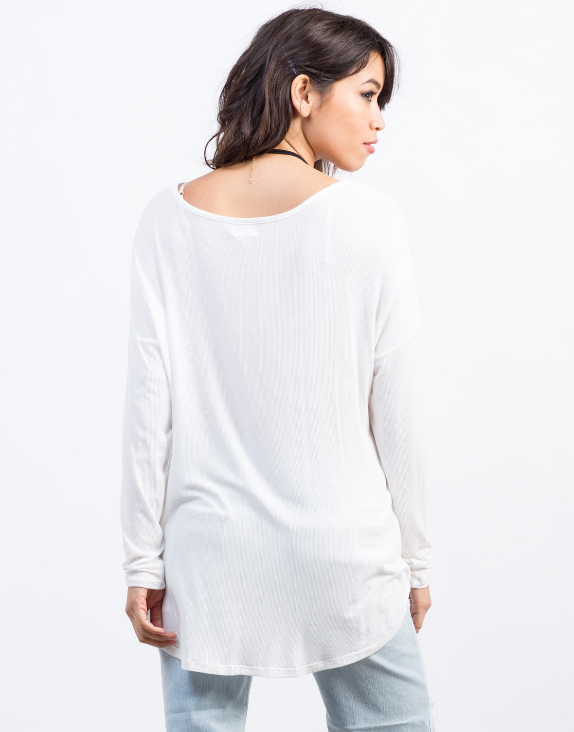Back View of Long Sleeve Ribbed Tee