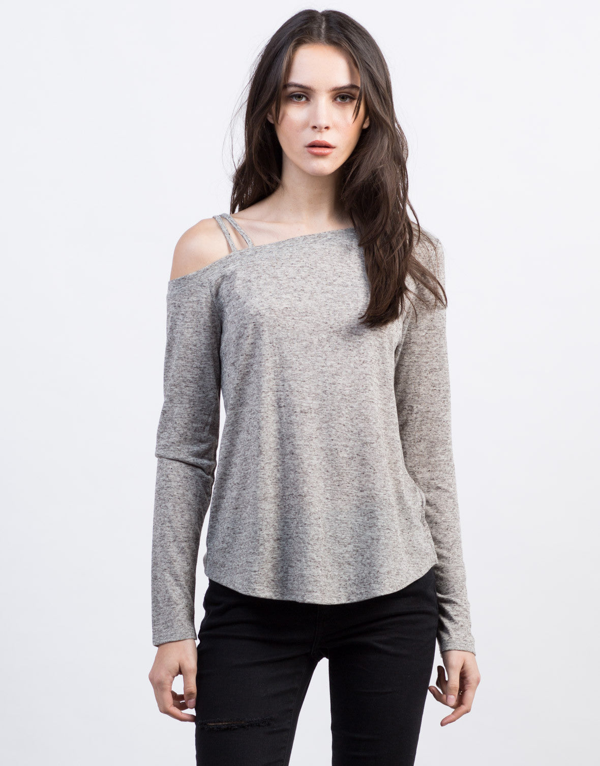 Front View of Long Sleeve Shoulder Strapped Top