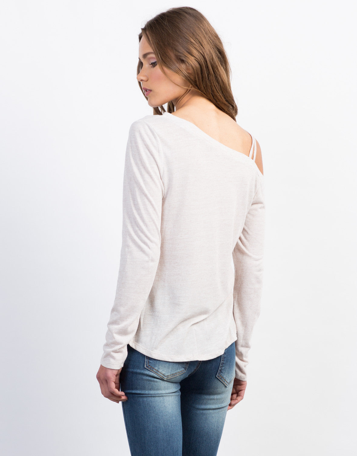 Back View of Long Sleeve Shoulder Strapped Top