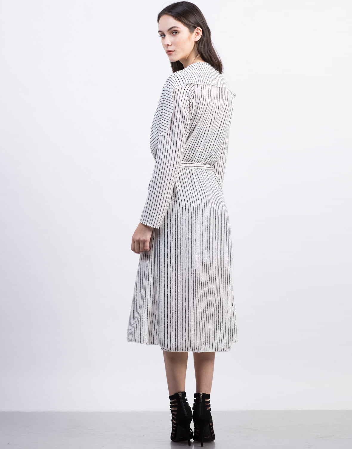 Back View of Long Striped Coat