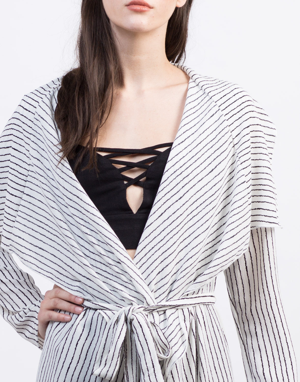 Detail of Long Striped Coat