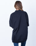 Back View of Long Zippered Bomber Jacket