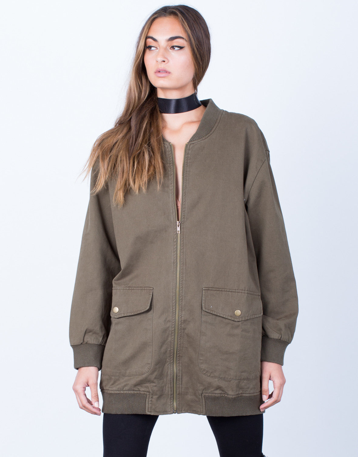 Front View of Long Zippered Bomber Jacket