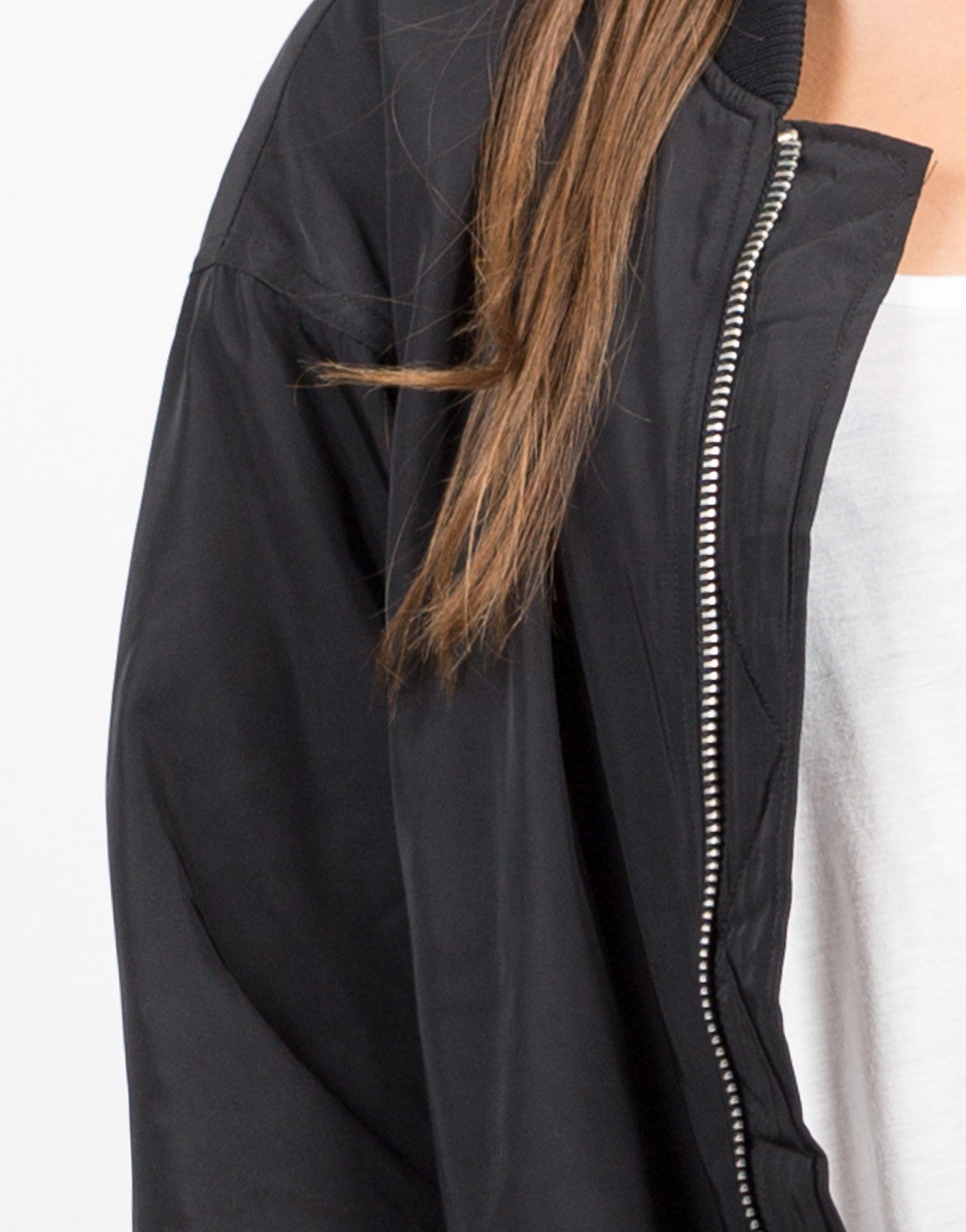 Detail of Long Bomber Jacket