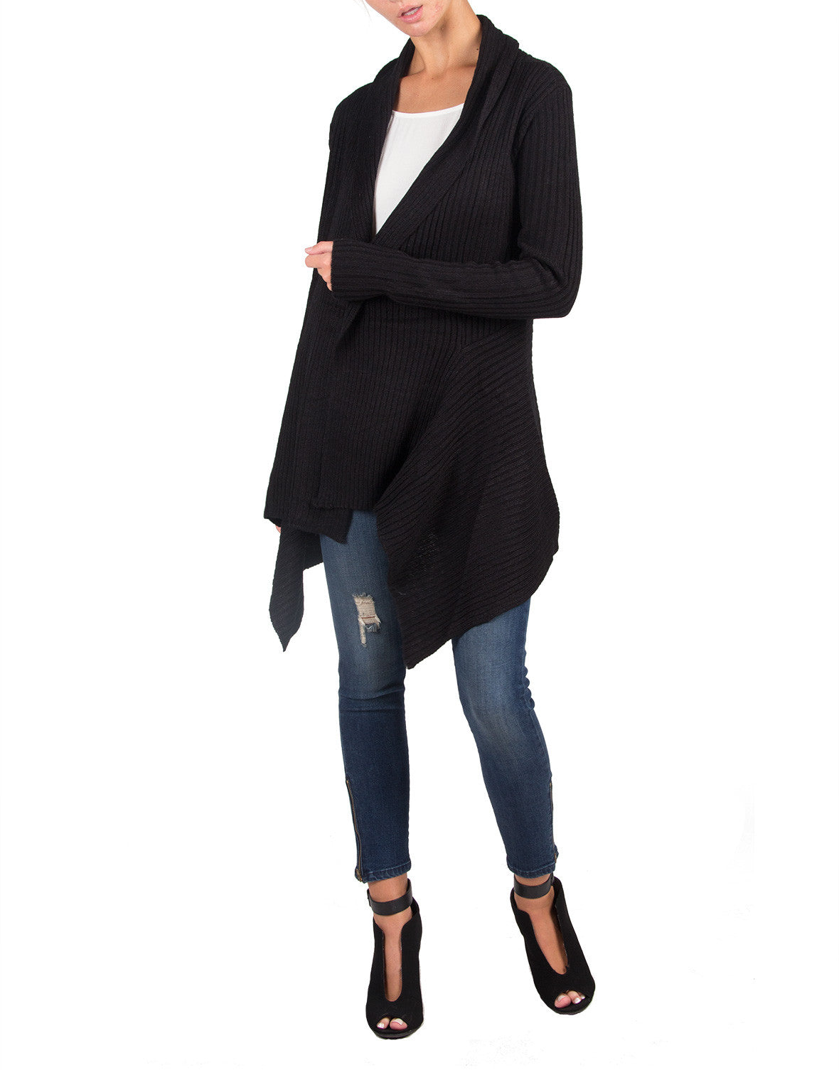 Long Cozy Knitted Cardigan - Black - Ambiance 62561