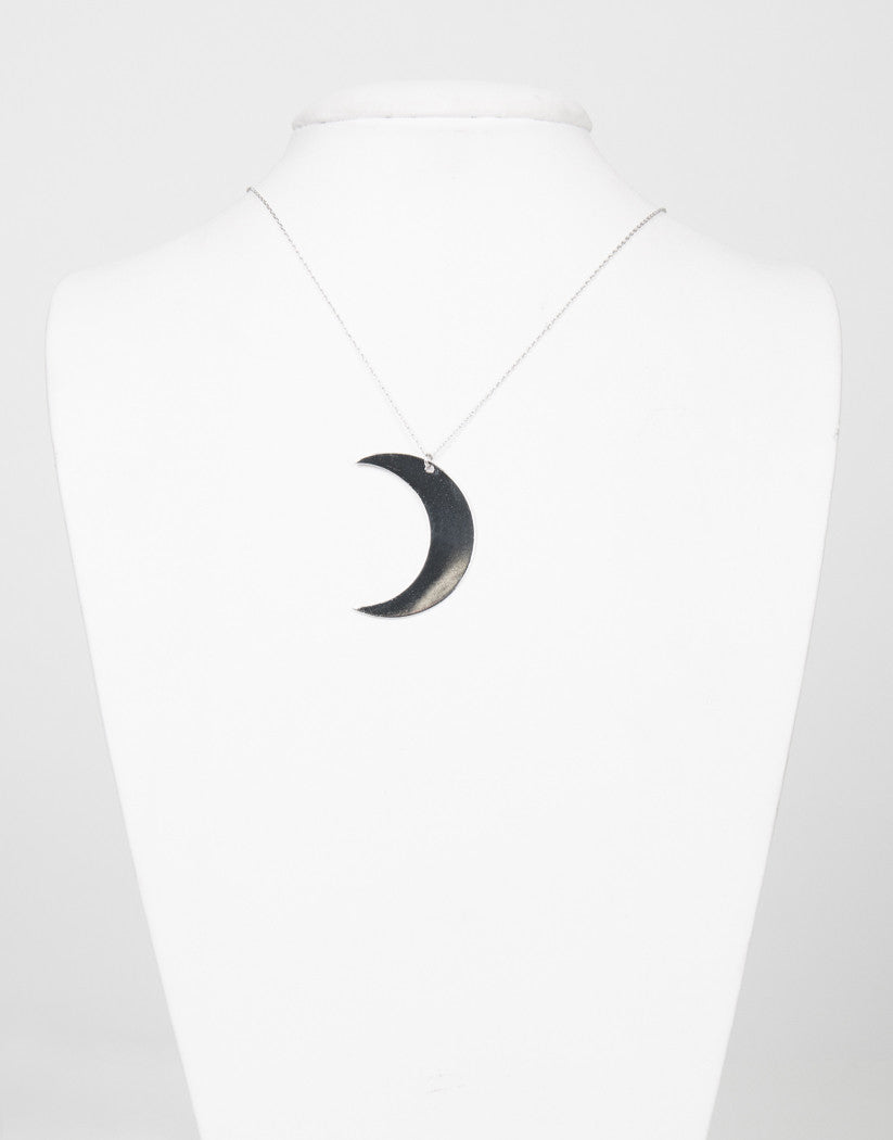 Front View of Long Crescent Moon Necklace