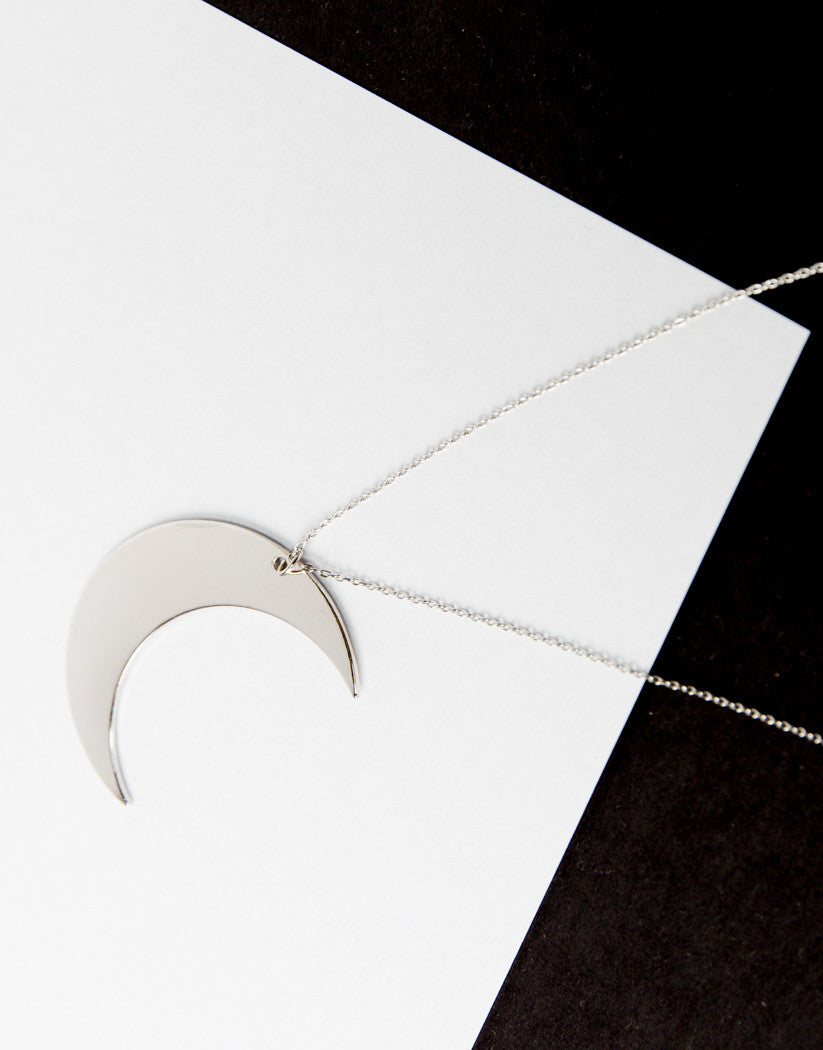 Detail of Long Crescent Moon Necklace