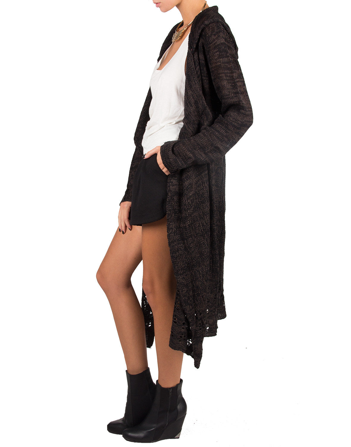 Long Holey Open Knit Cardigan - Black/Charcoal