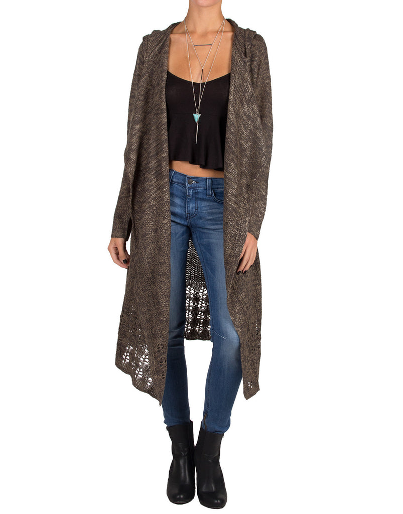 Long Holey Open Knit Cardigan - Charcoal/Tan - Small - 2020AVE