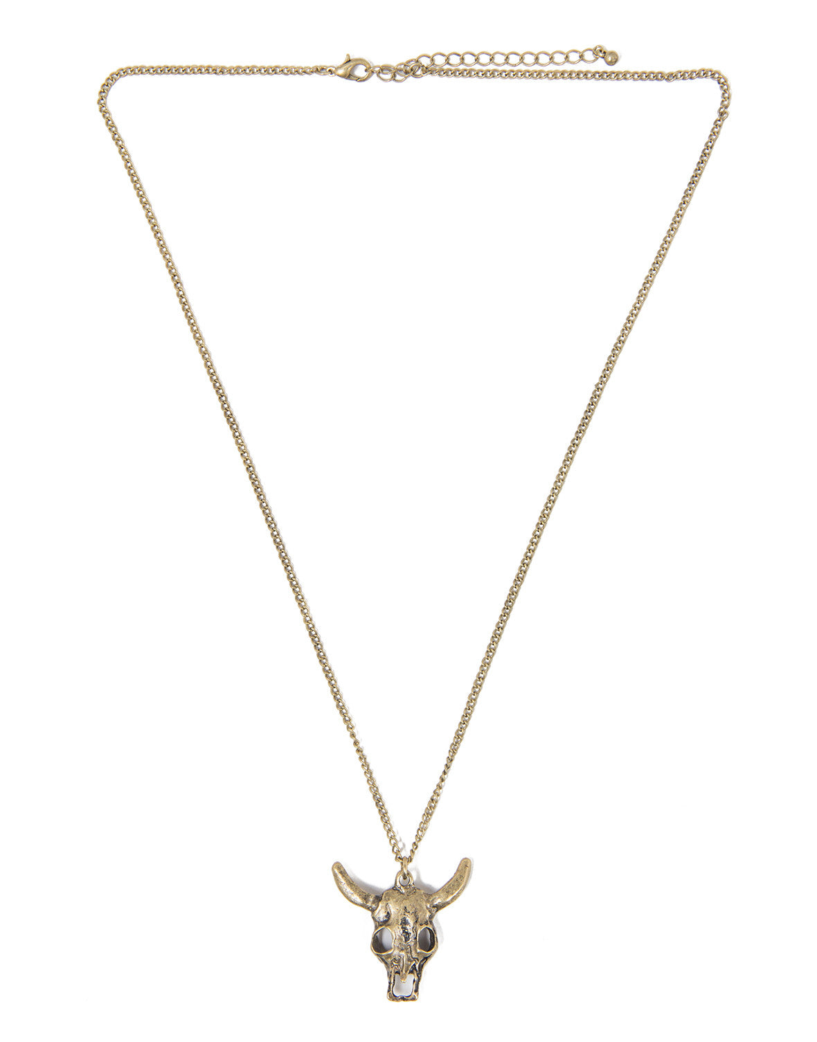 Longhorn Necklace - Antique Gold