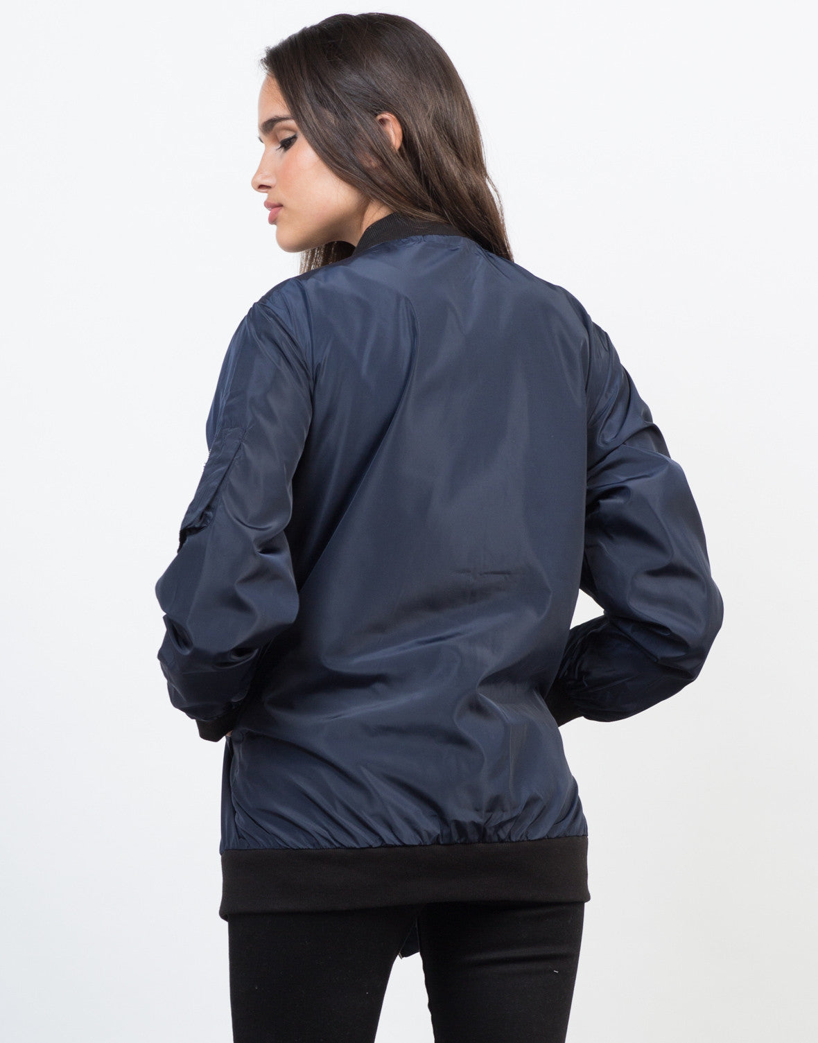 Back View of Longline Bomber Jacket
