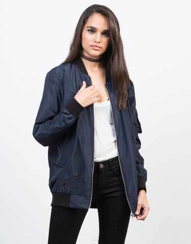 Front View of Longline Bomber Jacket