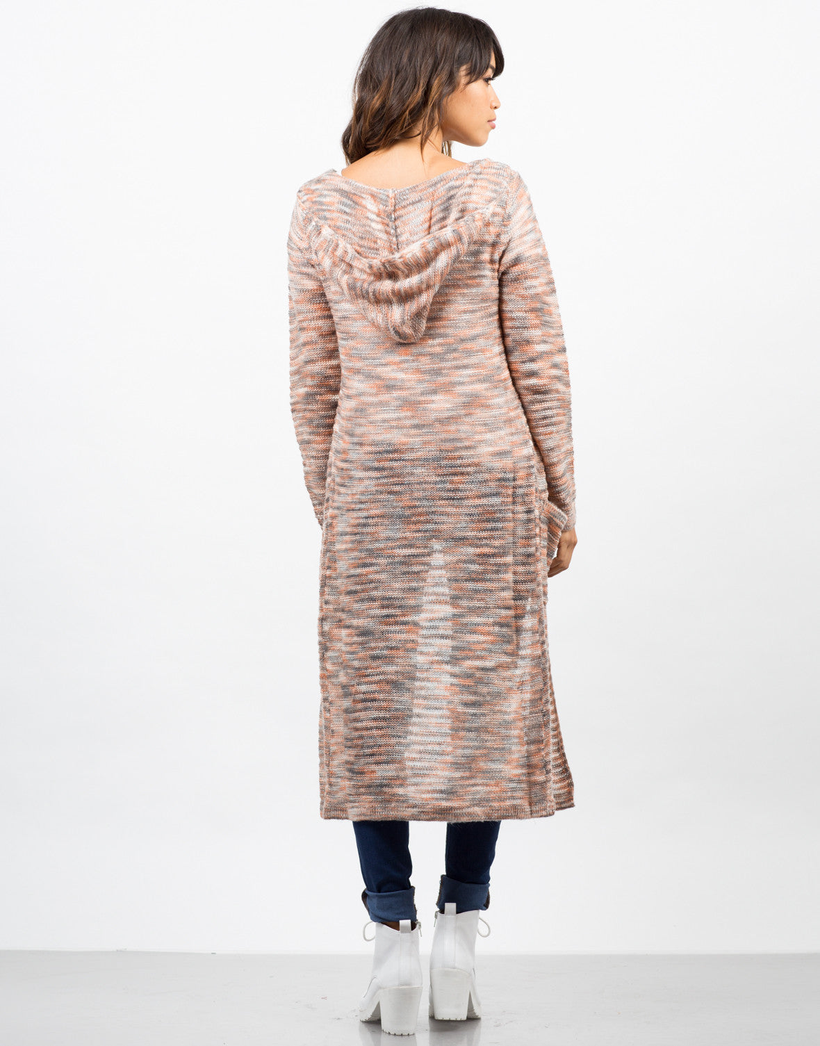 Back View of Longline Hooded Cardigan