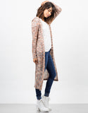 Side View of Longline Hooded Cardigan