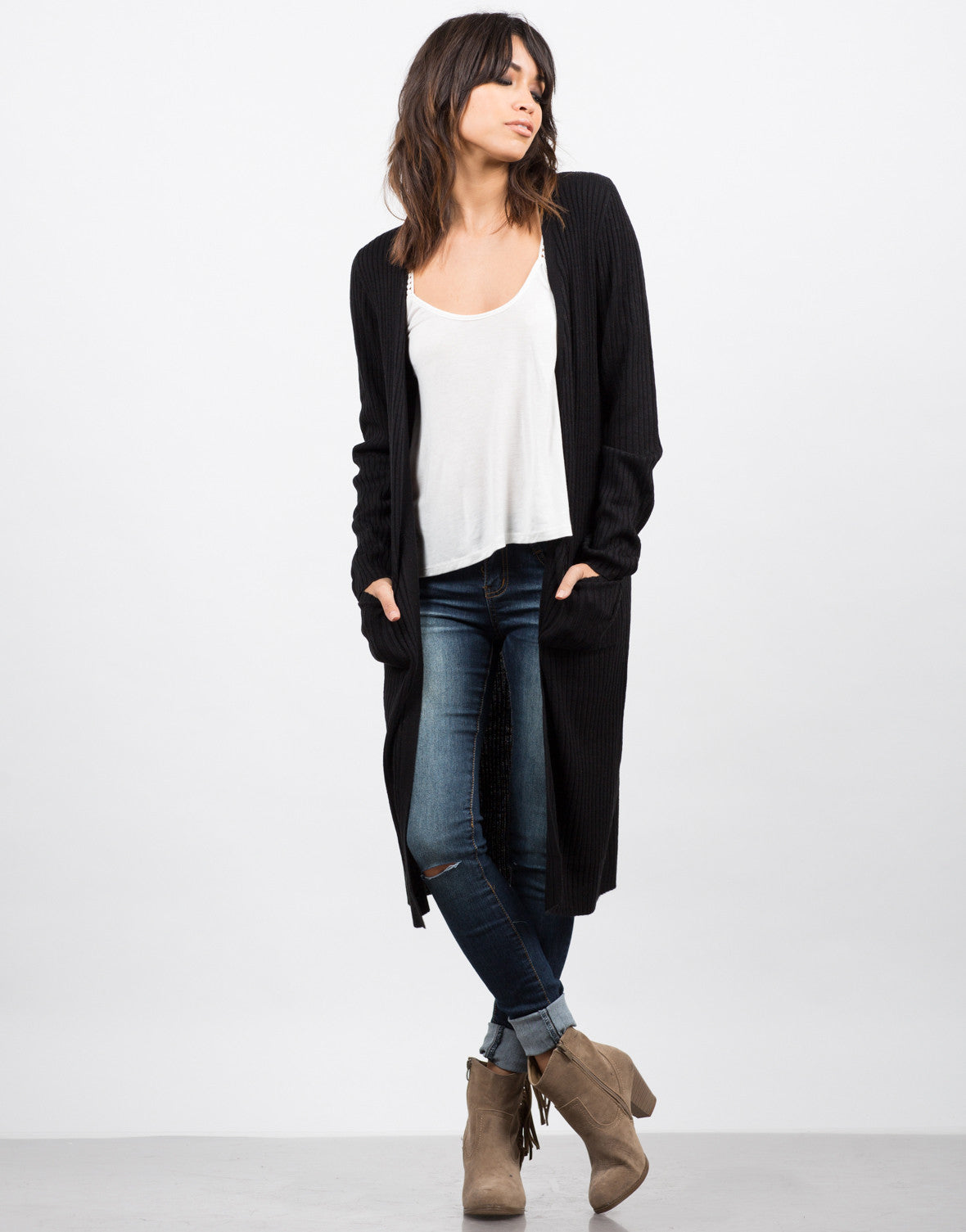 Front View of Long Ribbed Cardigan