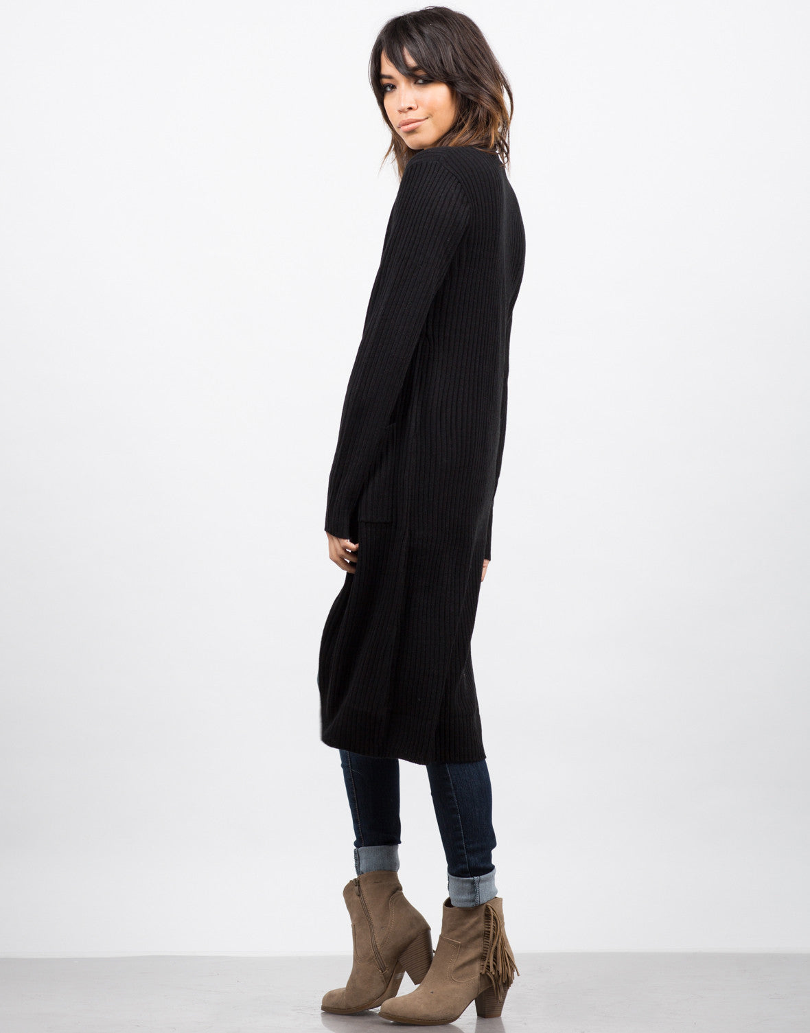 Side View of Long Ribbed Cardigan