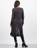 Back View of Long Ribbed Cardigan