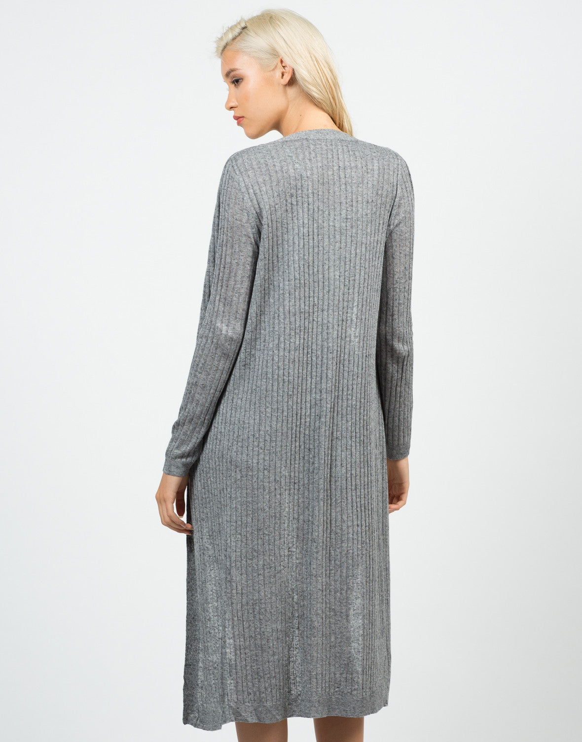 Back View of Long Ribbed Open Cardigan