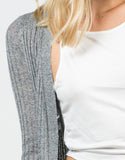 Detail of Long Ribbed Open Cardigan