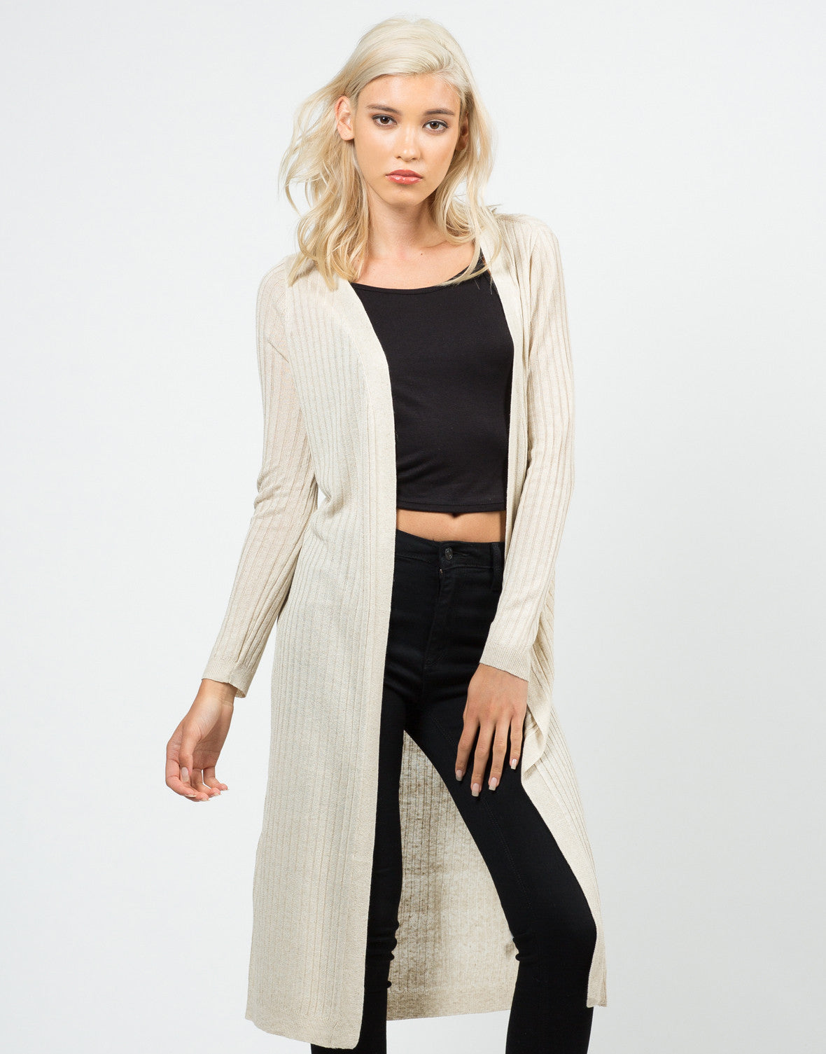 Front View of Long Ribbed Open Cardigan
