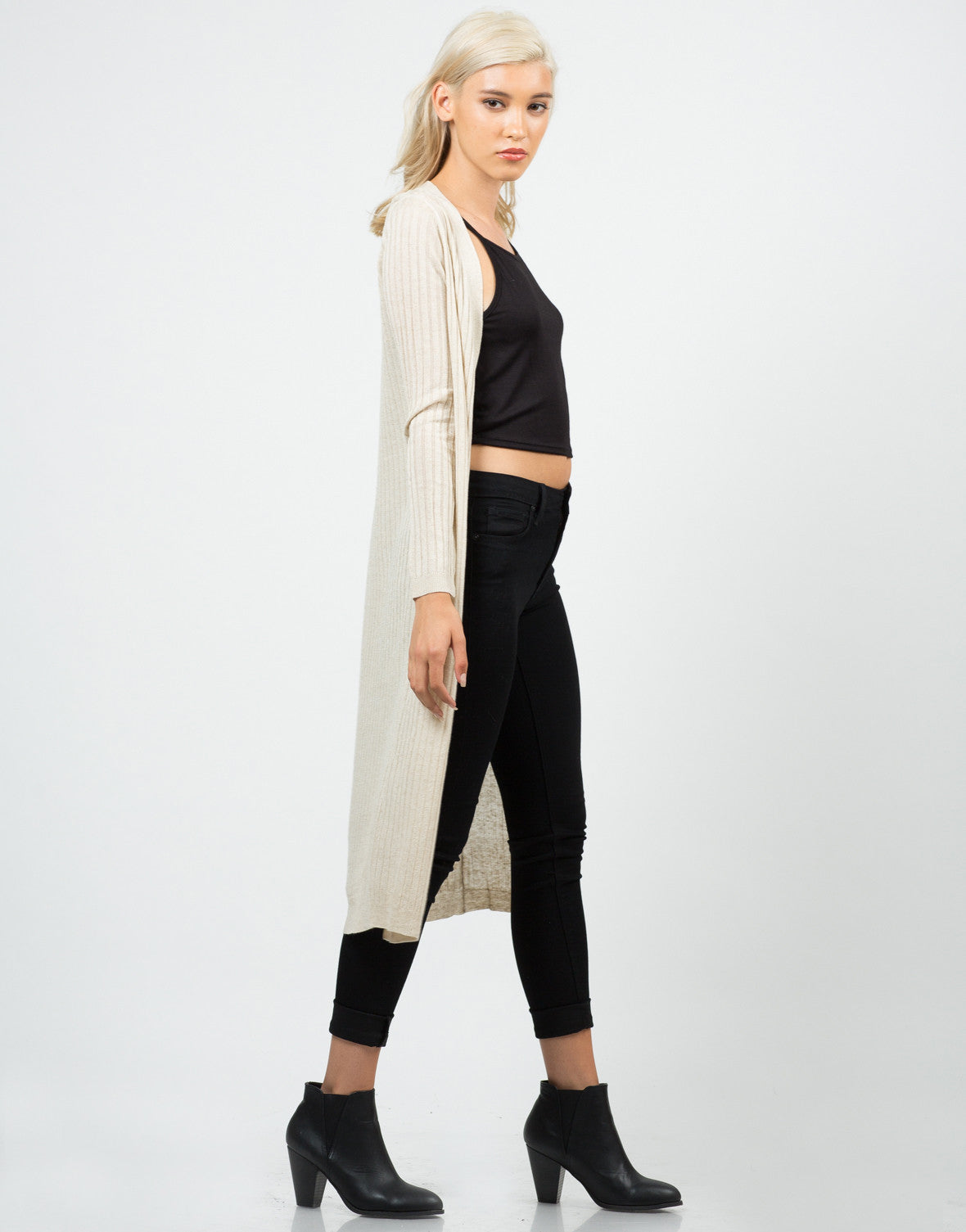 Side View of Long Ribbed Open Cardigan