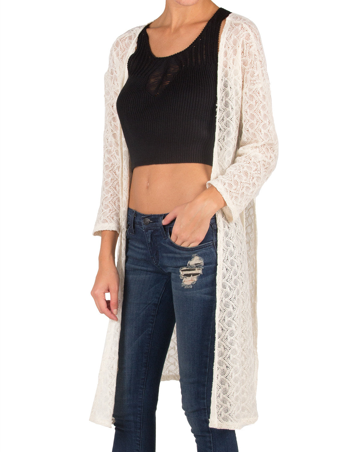 Long Side Slit Open Knit Cardigan