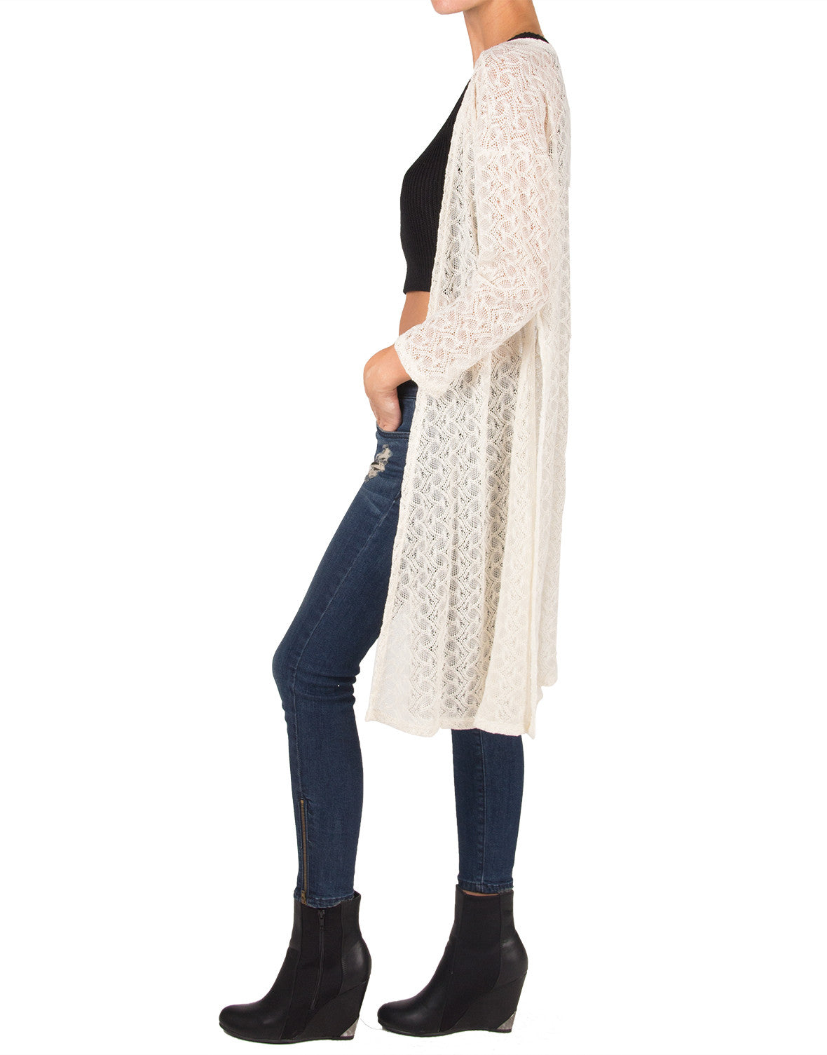 Long Side Slit Open Knit Cardigan - 2020AVE