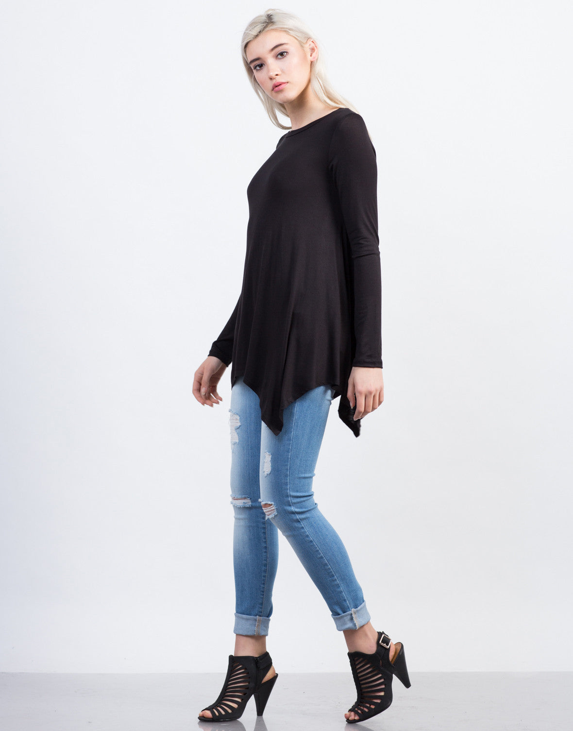 Side View of Long Sleeve Asymmetrical Tee