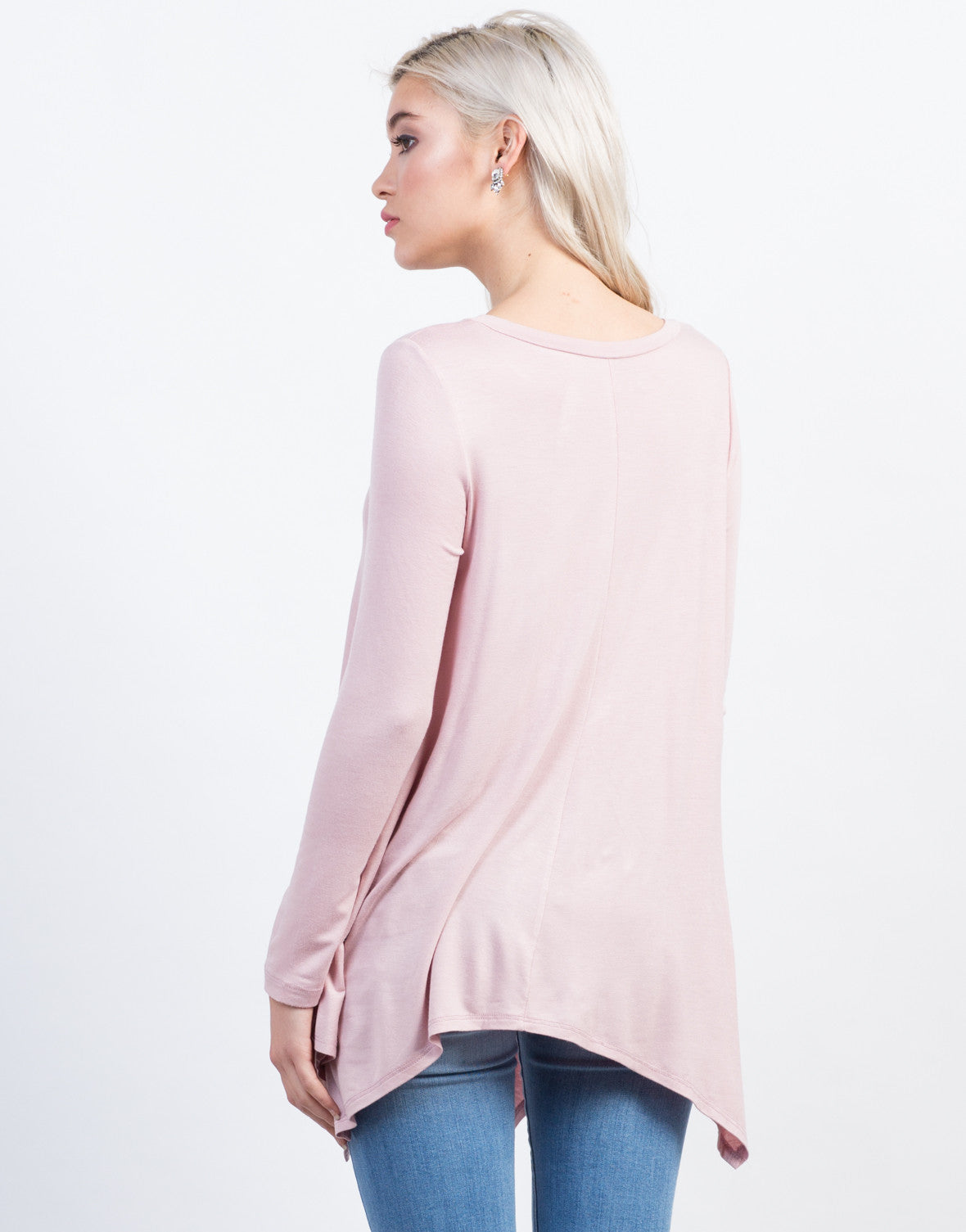 Back View of Long Sleeve Asymmetrical Tee