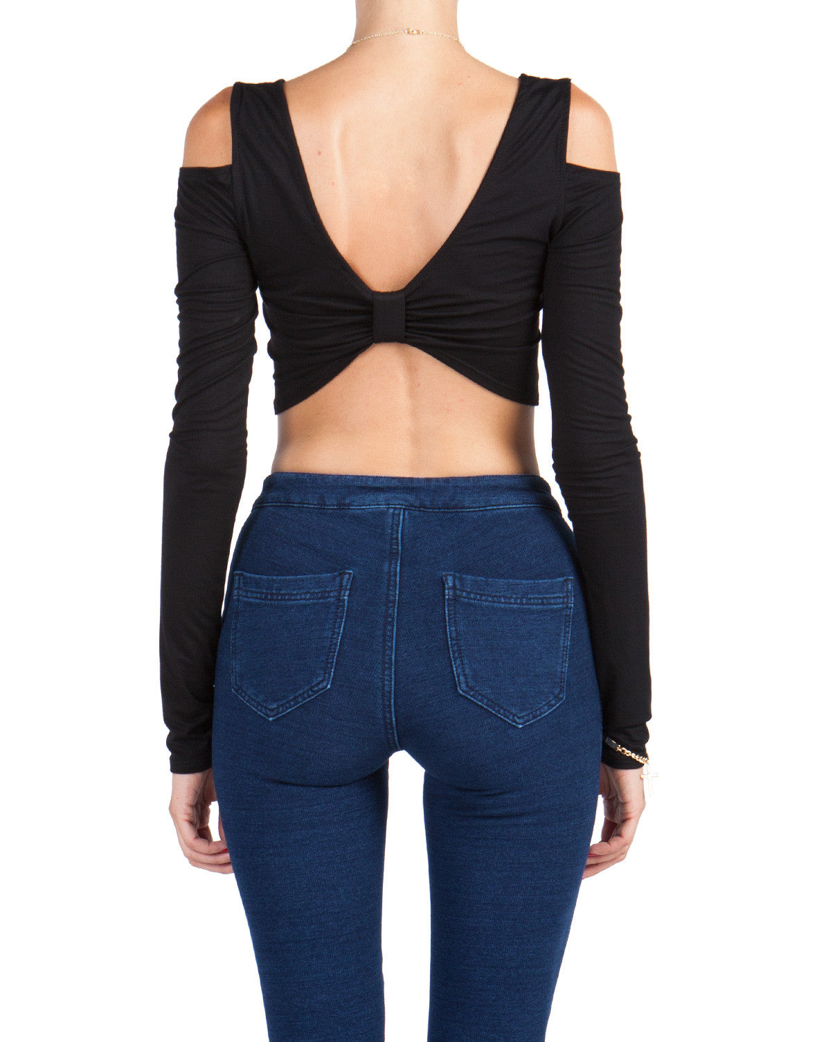 Long Sleeve Bow Back Crop Top